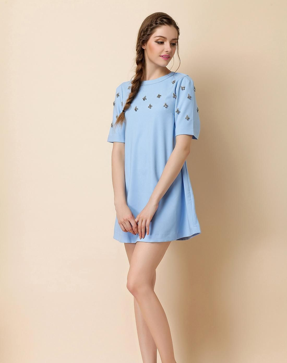 Azure crewneck short sleeve beaded mini dress minis short sleeves