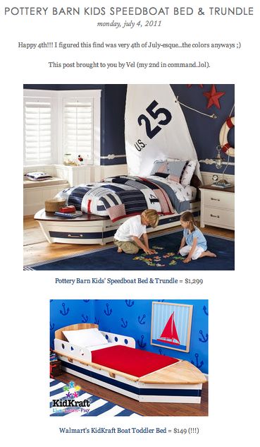 COPY CAT CHIC FIND Pottery Barn Kids' Speedboat Bed