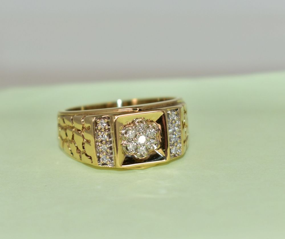 10 K Yellow Gold 10 Ct Tcw White Diamond Nugget Gent S Ring Size 9 8 2 Grams Bandnugget Gold Chains For Men Mens Gold Rings For Men