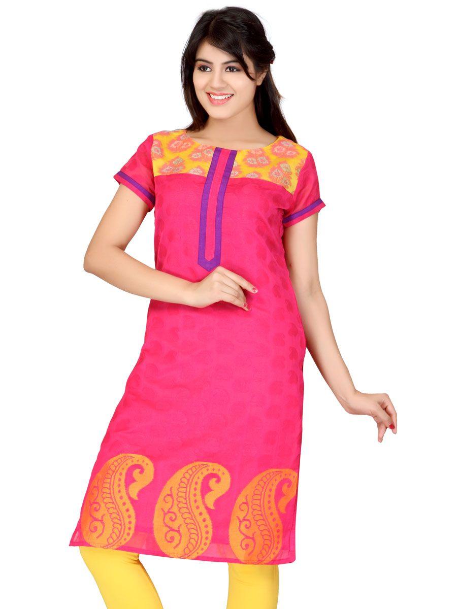 This absolutely #stunning fuschia pink #kurta made from #chanderi #silk #jaquard…