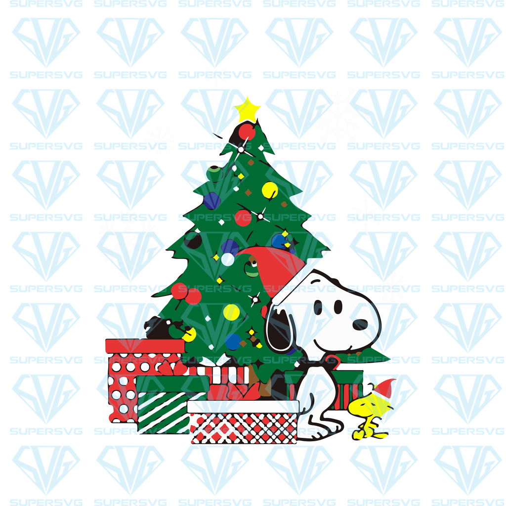 Snoopy And Woodstock Around The Christmas Tree SVG Files