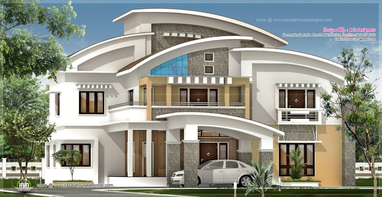 Square feet luxury villa exterior kerala home design floor for Home designs kerala architects