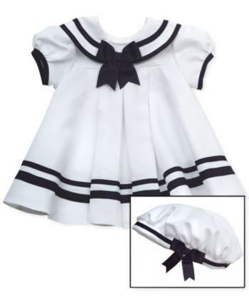 12458b32effaf Rare Editions Baby Girls Sailor Dress & Hat Set - White 6-9 months ...