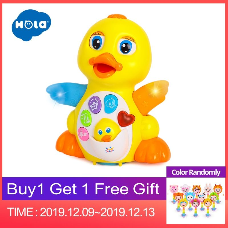 HOLA 808 Musical Flapping Yellow Duck Action Educational Learning and Walking Toy for 1 Year