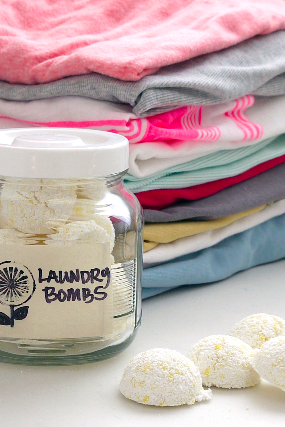 Here's a homemade laundry bomb that does it all. You can pick up the basic ingredients at your local grocery store for a few dollars, making these little helpers seriously budget-friendly.