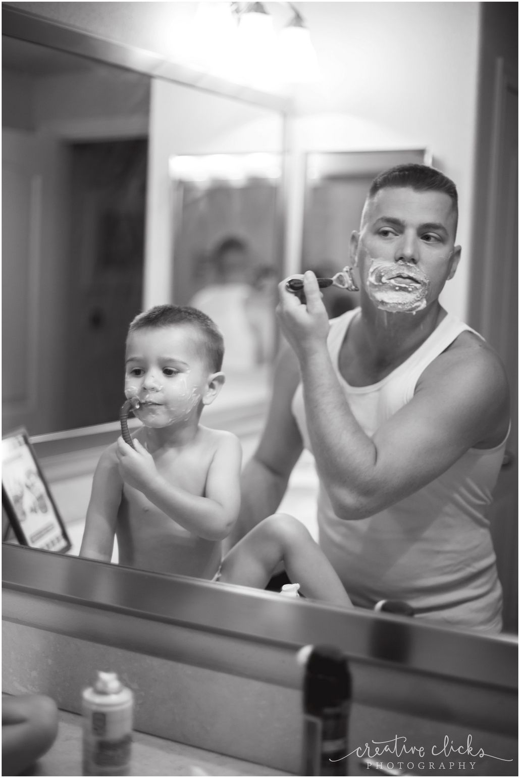 Father and son shaving black and white like father like son www creativeclicksphoto com