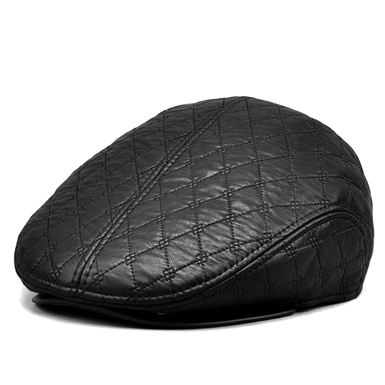541edbaf9ba LOCOMO Faux Leather Black Velvet Inside Folding Ear Flap Flat Cap ...
