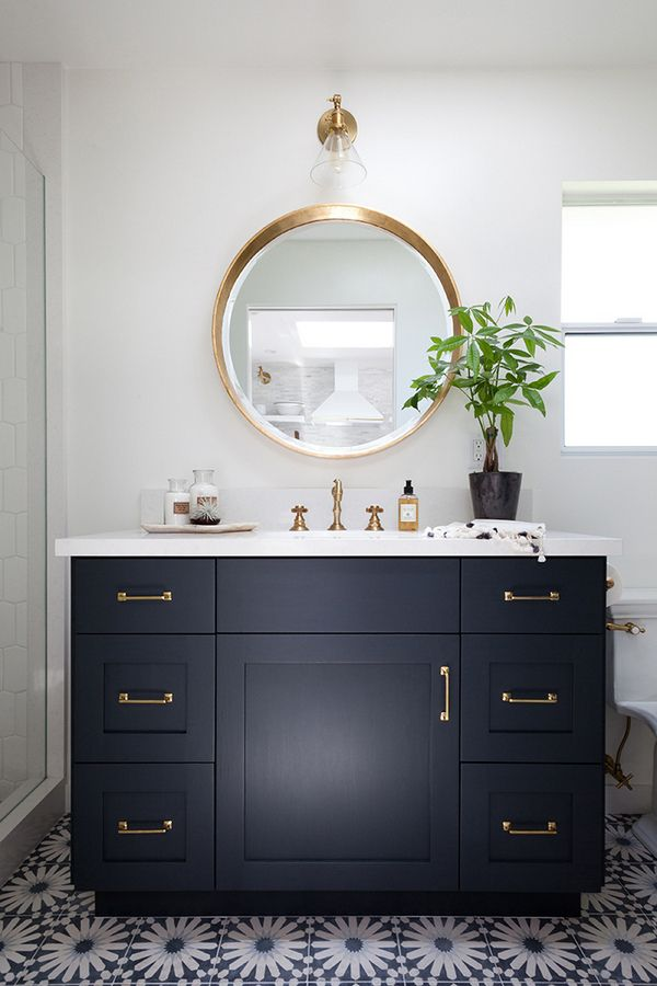 My Plan Is To Swap Out Builder Grade Bathroom Mirror For Something More Fashionable Hopefully A Round