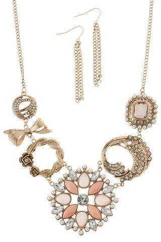 Crystal Metal Piece Link Necklace