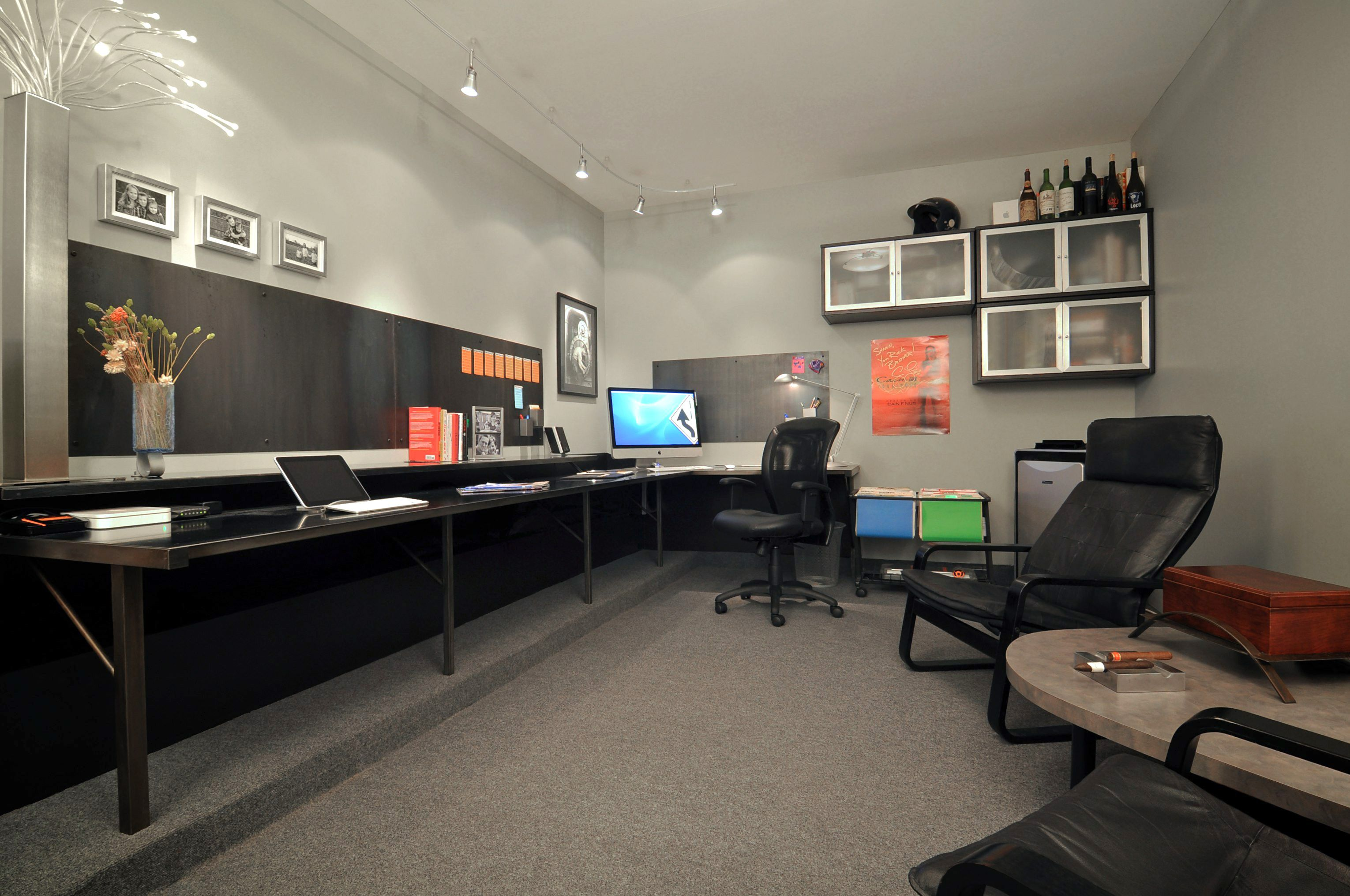 Shawn 39 s garage office man cave the perfect melange to for Office space basement