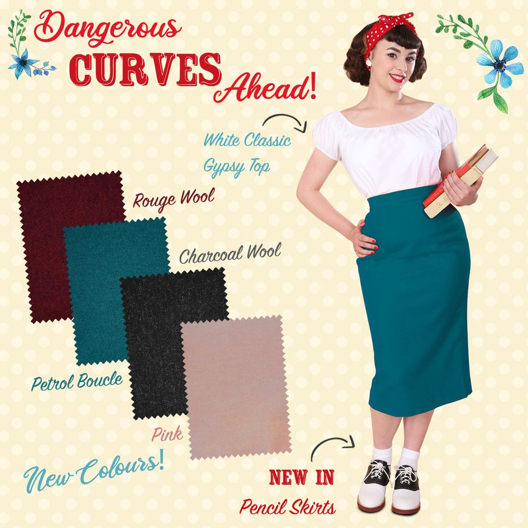 Wiggle your dangerous curves ahead in our new Pencil skirts! 😉 They come in 4 different colours and wool fabric to keep you warm and cosy. Always in style and you can wear them with almost anything! 😊⁠  #vintagestyle #vintagefashion #retro #retroclothing #retrostyle #vintageinspired #retroinspired #pencilskirt #wiggleskirt #1950spencilskirt #curves #clotheswithcurves #pinupskirt #showyourcurves #marilynmonroestyle #jaynemasnfieldstyle #retroskirt #retropencilskirt #pinupsecretary