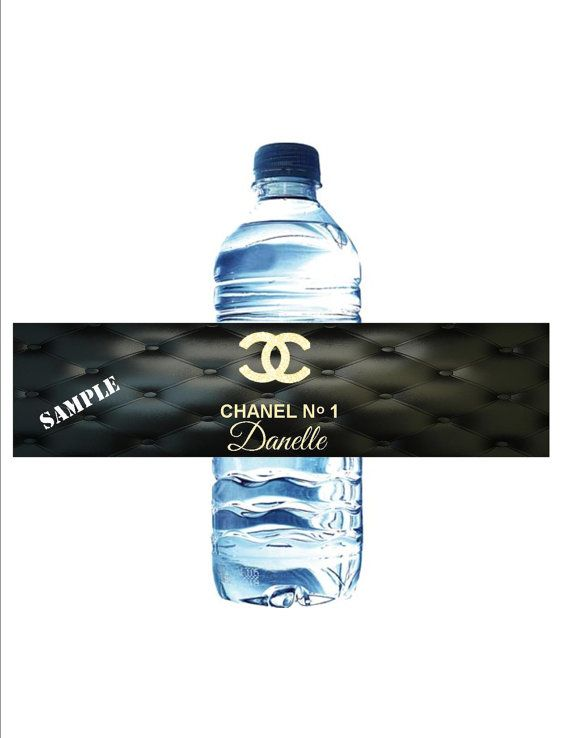 Coco Chanel Black Leather Graphic Water Bottle Labels Wraps Set Of