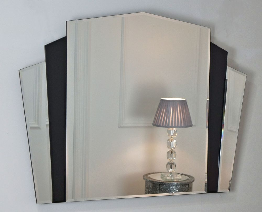 Piermont black art deco overmantle fan shaped wall mirror 43 x 32 x large in home furniture diy home decor mirrors ebay