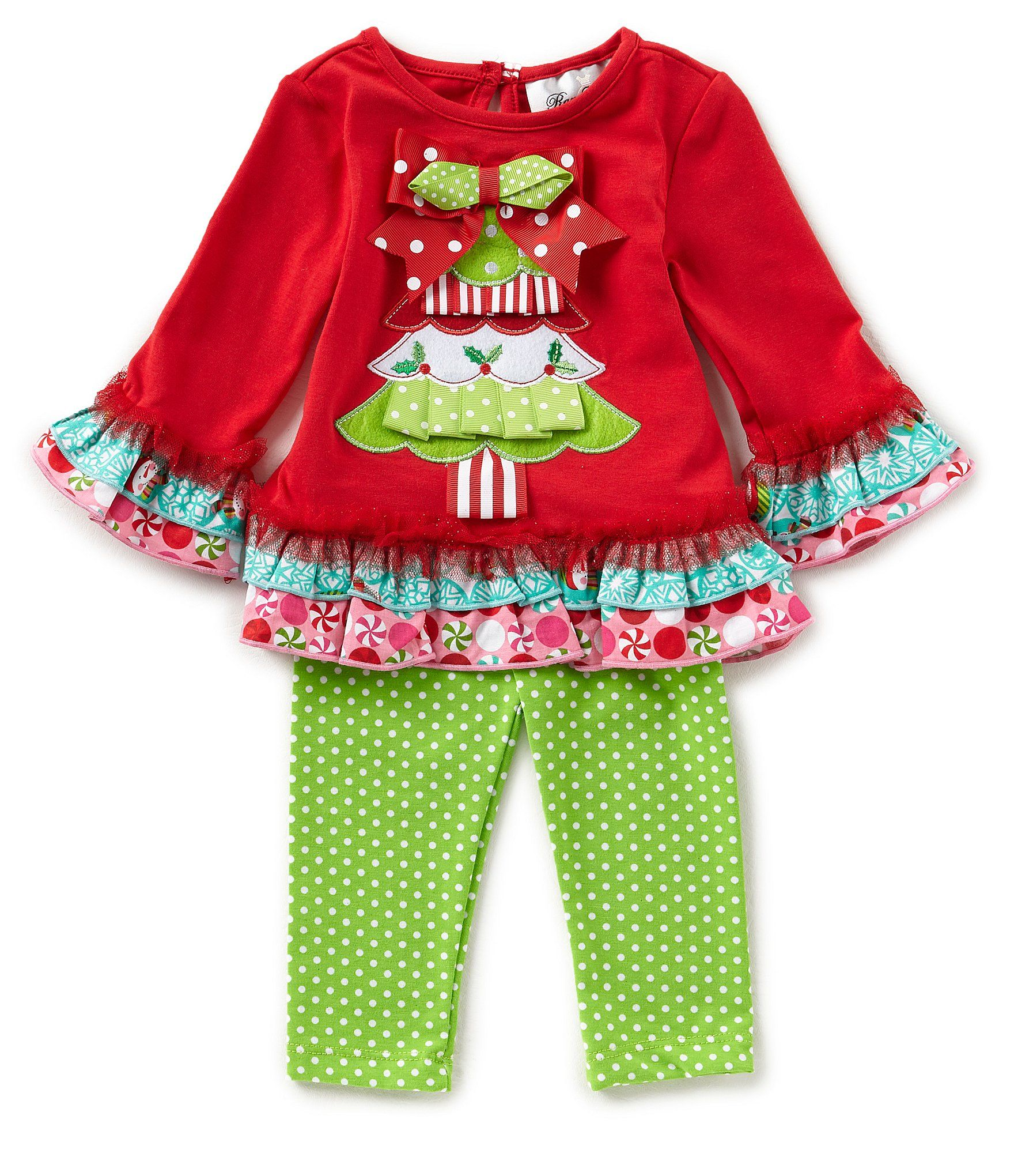 Rare Editions Baby Girls 324 Months Christmas Tree Top and Dotted