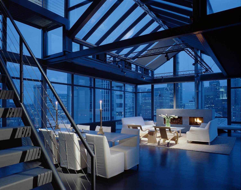 Minimalist penthouse apartment overlooking the Seattle skyline ...