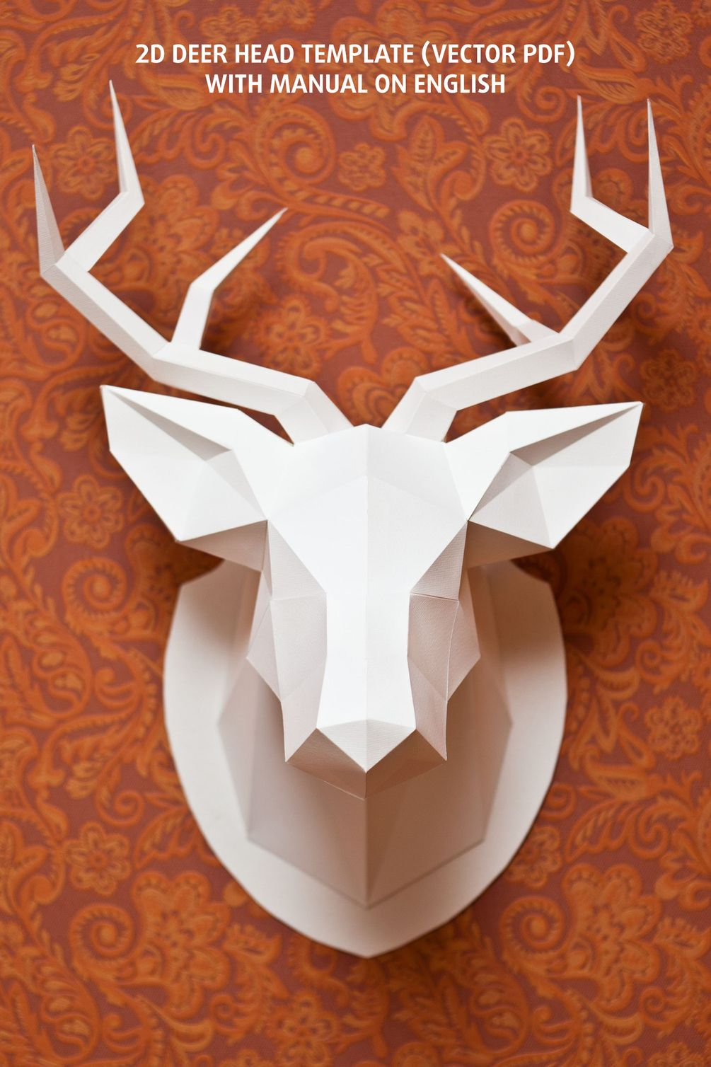 2D Deer Head Template   Office paper, Paper size and 2d