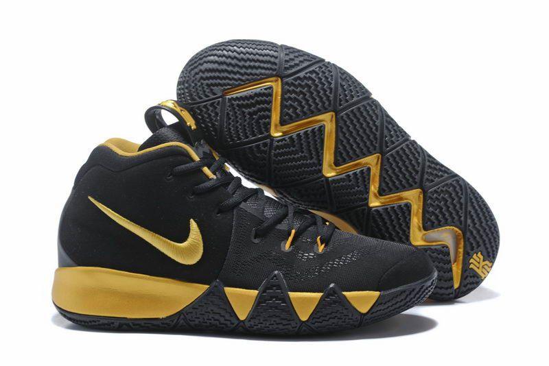 Nike kyrie 4 basketball shoes black gold