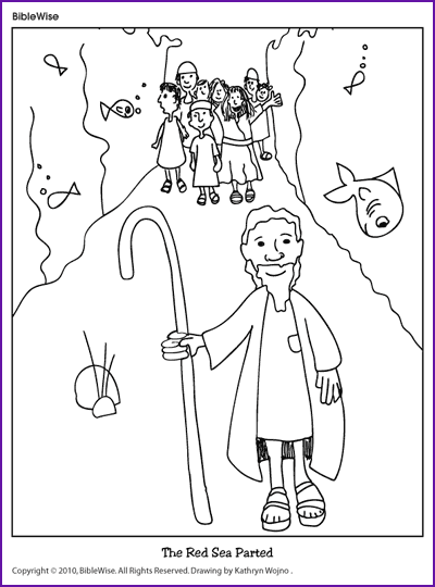 Coloring Moses Parts The Red Sea Kids Korner Biblewise Parting The Red Sea Moses Red Sea Bible Crafts