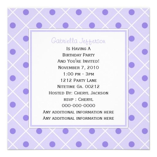 #Purple and #White #Polka-dot  #Invitation By #KCavender