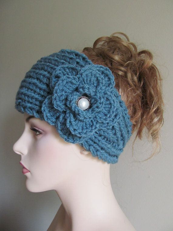 Flower Headbands Ear warmers Turban Aqua Turquoise Teal Jeweled ...