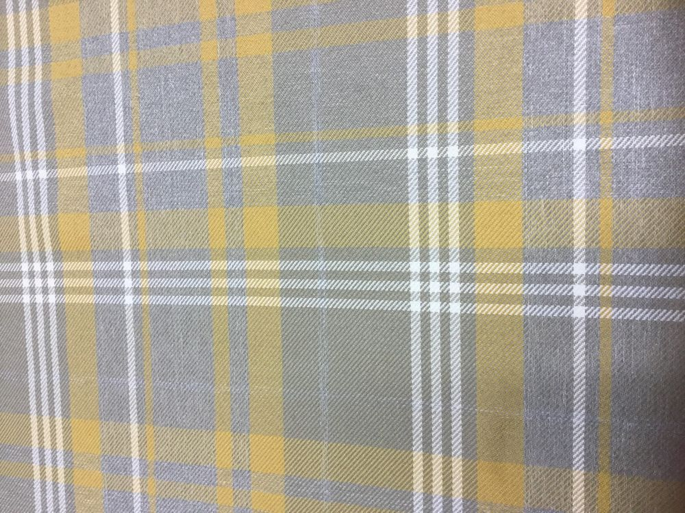 Yellow And Grey Tartan Fabric By The Metre