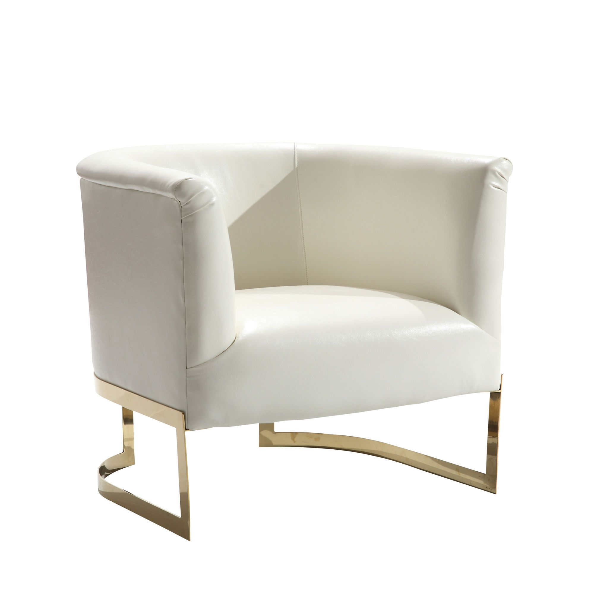Elite Modern White Leatherette Gold Steel Frame Accent Chair Contemporary Accent Chair White Accent Chair Leather Accent Chair