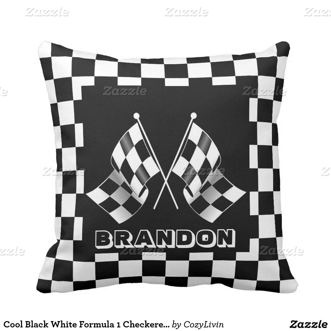 Custom Cool Formula 1 Checkered Flag Pattern Throw Pillow Zazzle Com Patterned Throw Pillows Checkered Flag Checkered