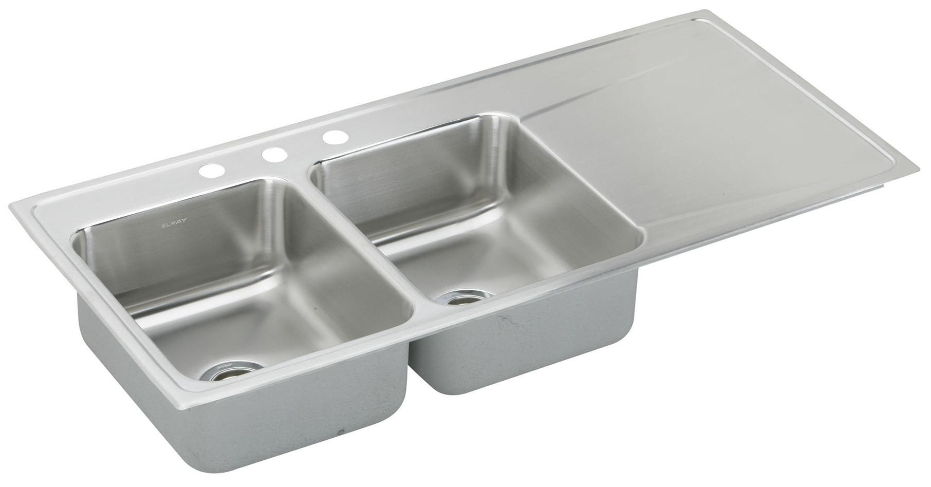 Stainless Steel Double Bowl Kitchen Sink With Drainboard