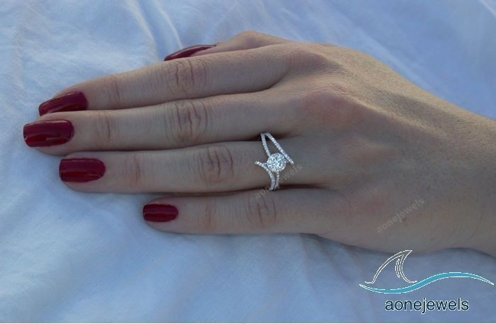 1-1/3 CT Bypass Style 14k White Gold Over Round Cut Diamond Engagement Ring #aonejewels #EngagementRing #EngagementWeddingAnniversary
