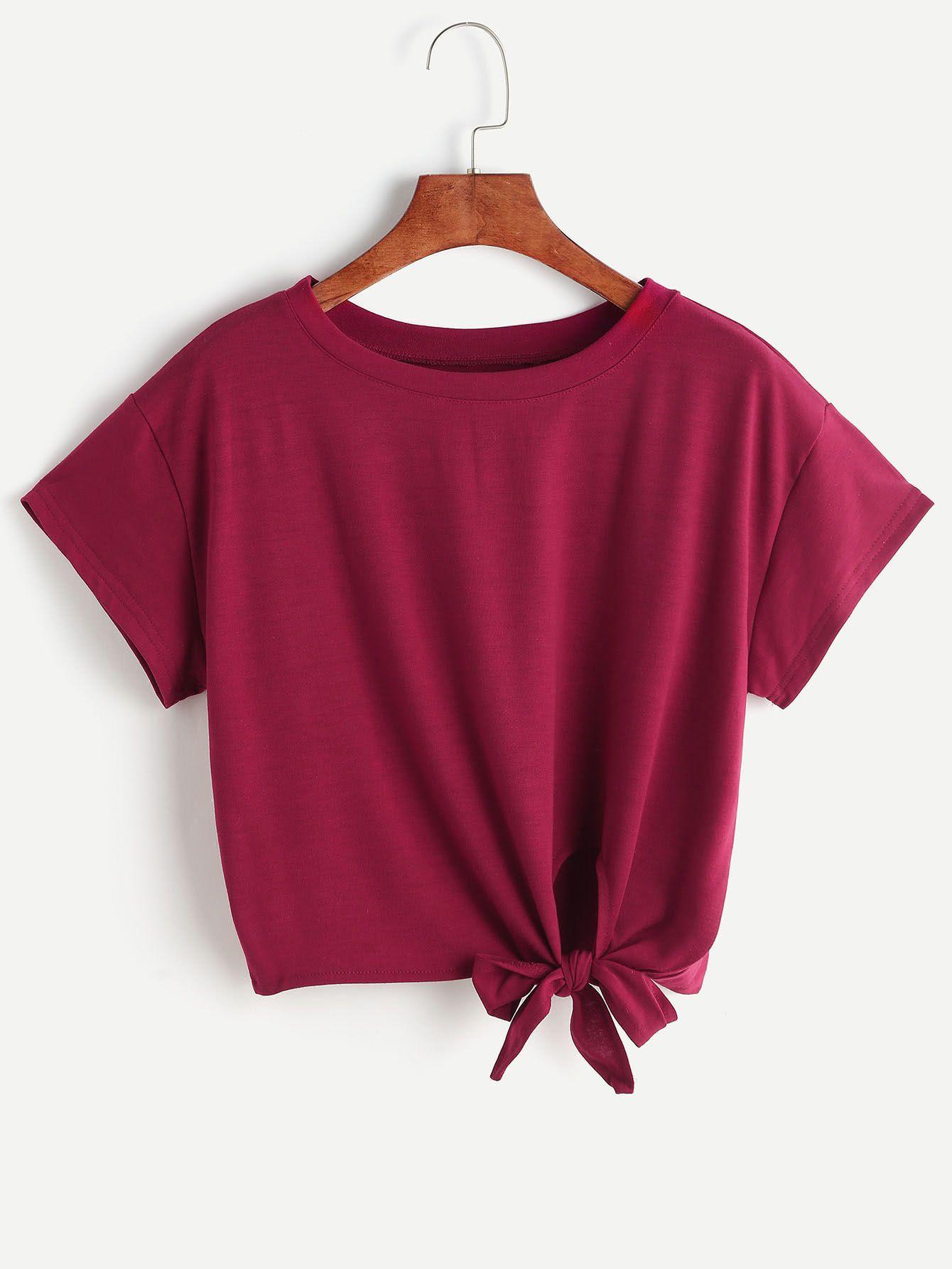 Burgundy tie side crop tshirt ropa tmblr ropa tumblr