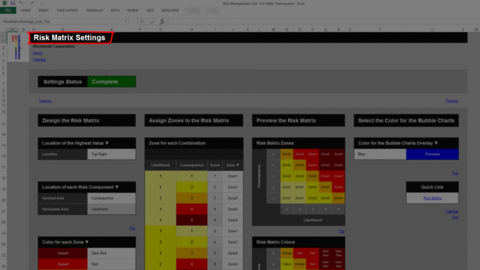 Risk Template in Excel - Risk Heat Maps or Risk Matrix: Settings Tab ...