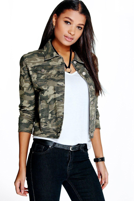 Women S Camouflage Denim Jacket Boohoo Uk Camouflage Jacket Camouflage Jeans Denim Women [ 1500 x 1000 Pixel ]