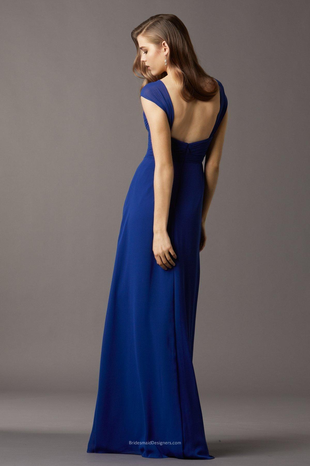 Royal blue cap sleeve straps sweetheart long bridesmaid dress long