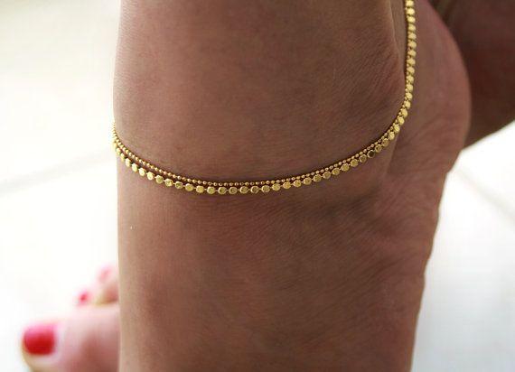 14k Gold Vermeil 925 Sterling Silver Anklet Anklet Bracelet 5 mm Gold Vermeil EA54 Anklet Bracelet Silver Gold Anklet 9\u201d