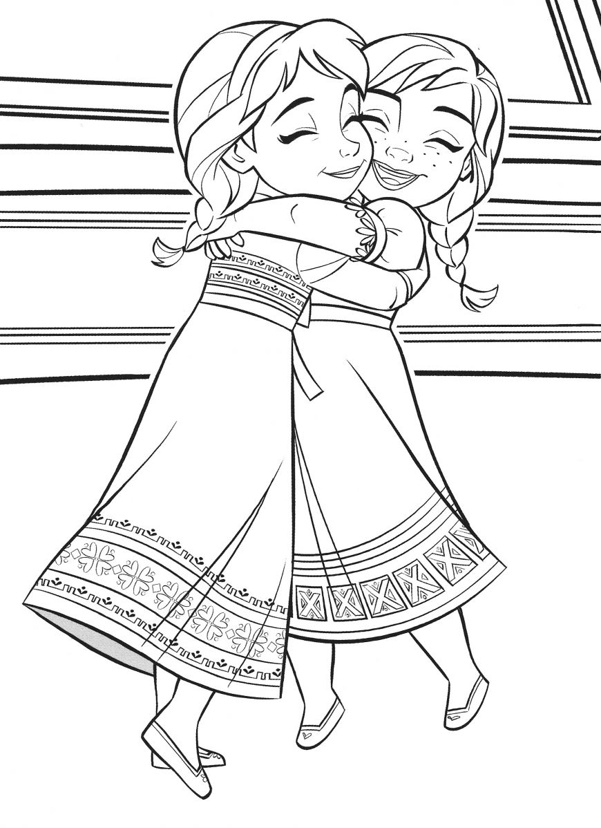 Frozen 2 Coloring Page Baby Elsa Hugs Little Anna In 2020 Elsa Coloring Pages Frozen Coloring Pages Disney Coloring Sheets