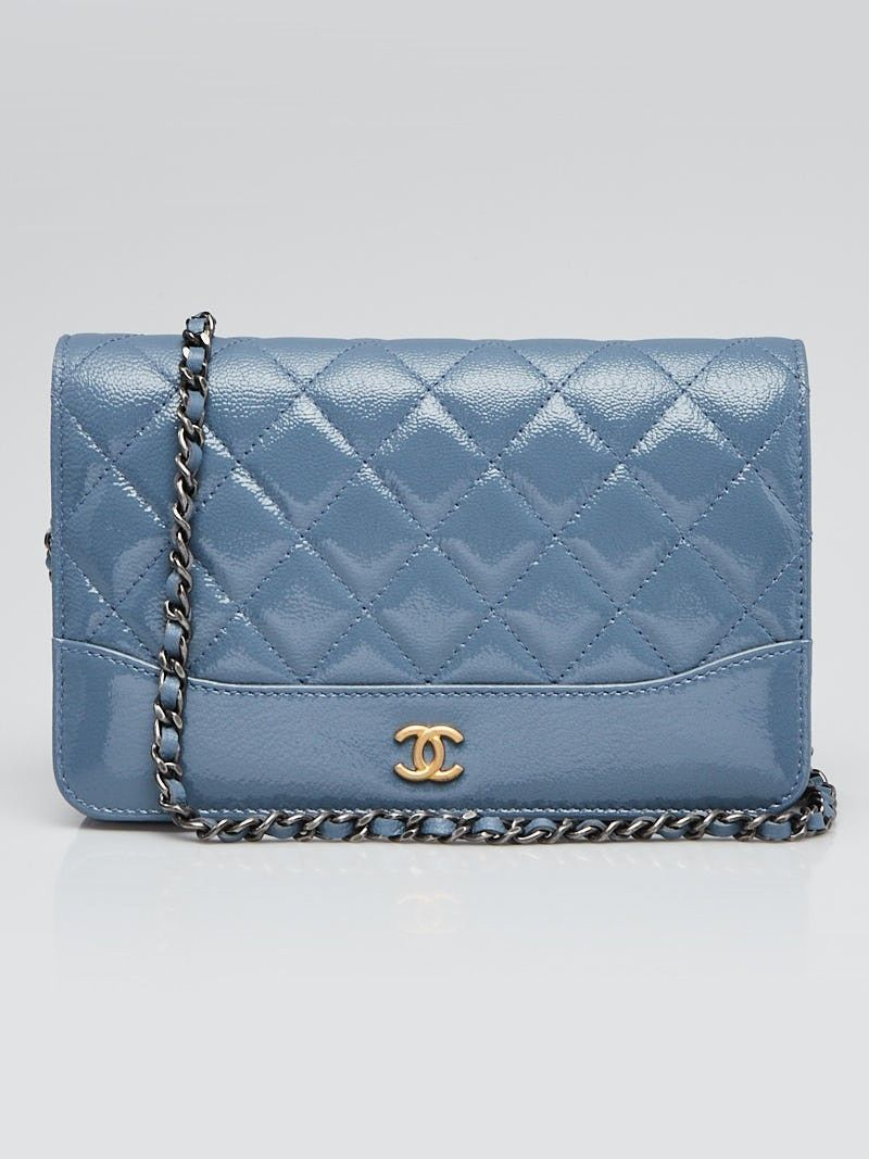 556f254d4becb0 Chanel Blue Quilted Patent and Aged Calfskin Leather Gabrielle WOC ...