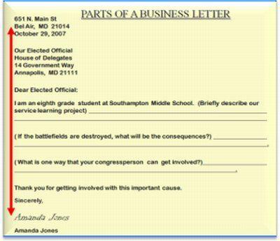 Business Letter Format Middle School Sample Grading Header Name