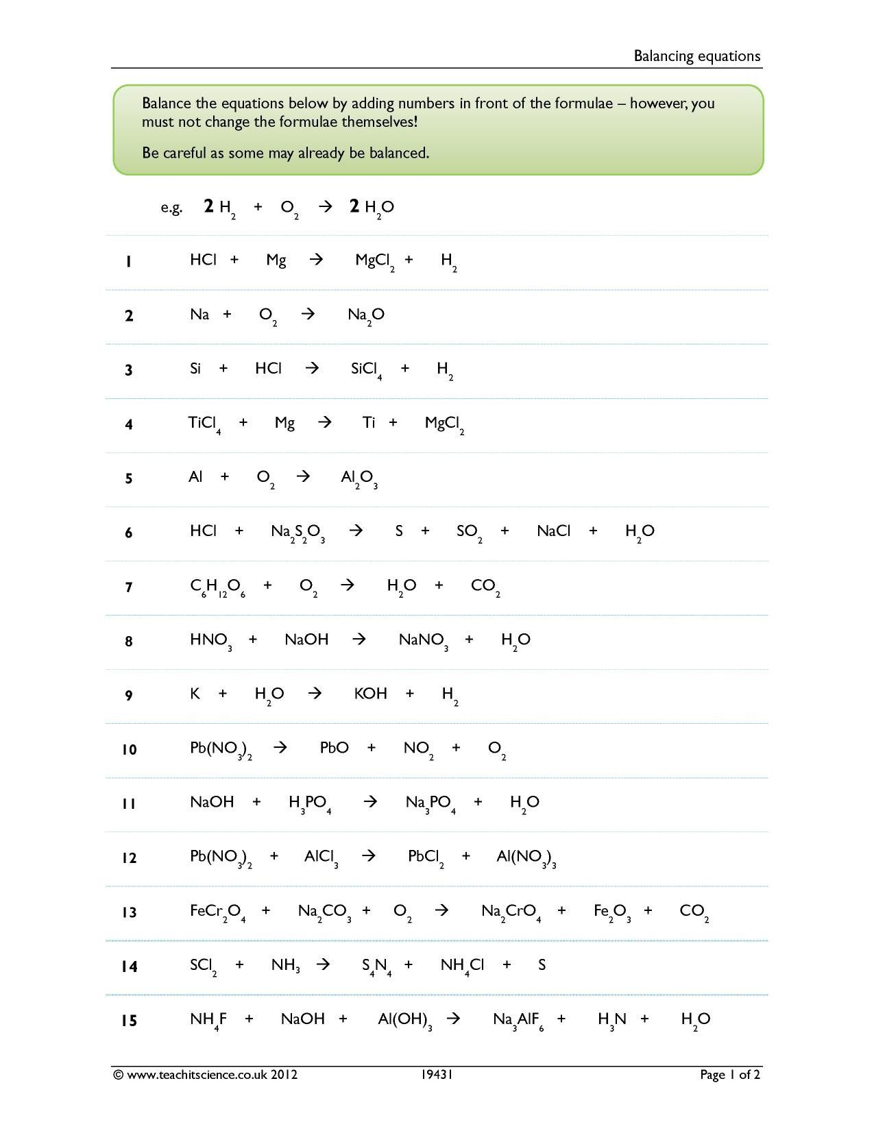 Balancing Equations Worksheet Answers In