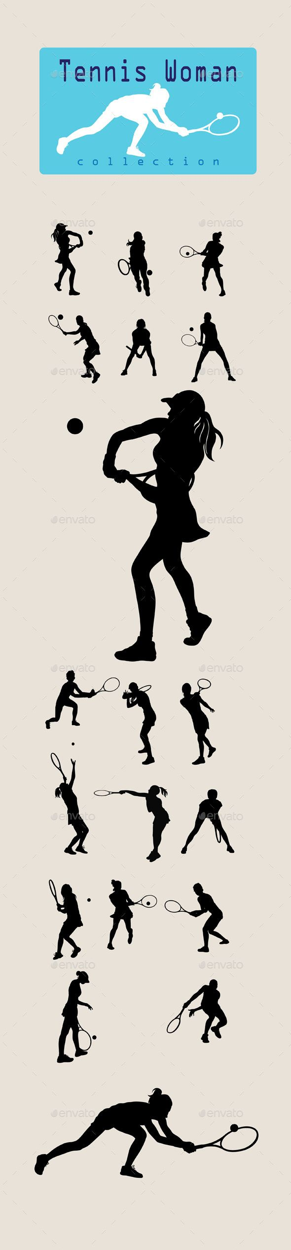 Woman Tennis Player Silhouette Tennis Players Sport Illustration Silhouette