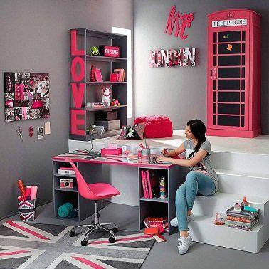 Une chambre ado fille avec estrade et rangements Maison du Monde ...