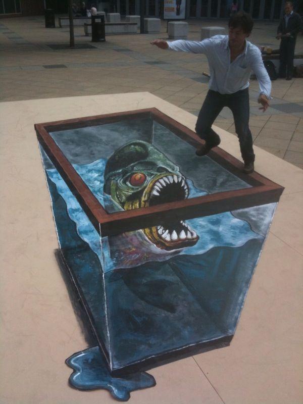 'Feeding The Fish' - 3D street art for film release 'Piranha 3D' - 3D Joe and Max3D Joe and Max