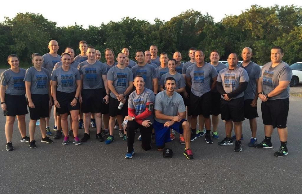 These Tampa Police Department Academy recruits are putting their Hero Edition Blue Line shirts through the ringer! Stay strong--and good luck! Thanks for sharing! #ShirtSmiths #revealyourzeal