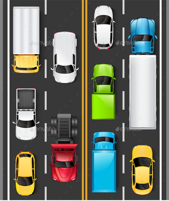 Top View Of Cars And Trucks On The Road Object In 2019 Top View