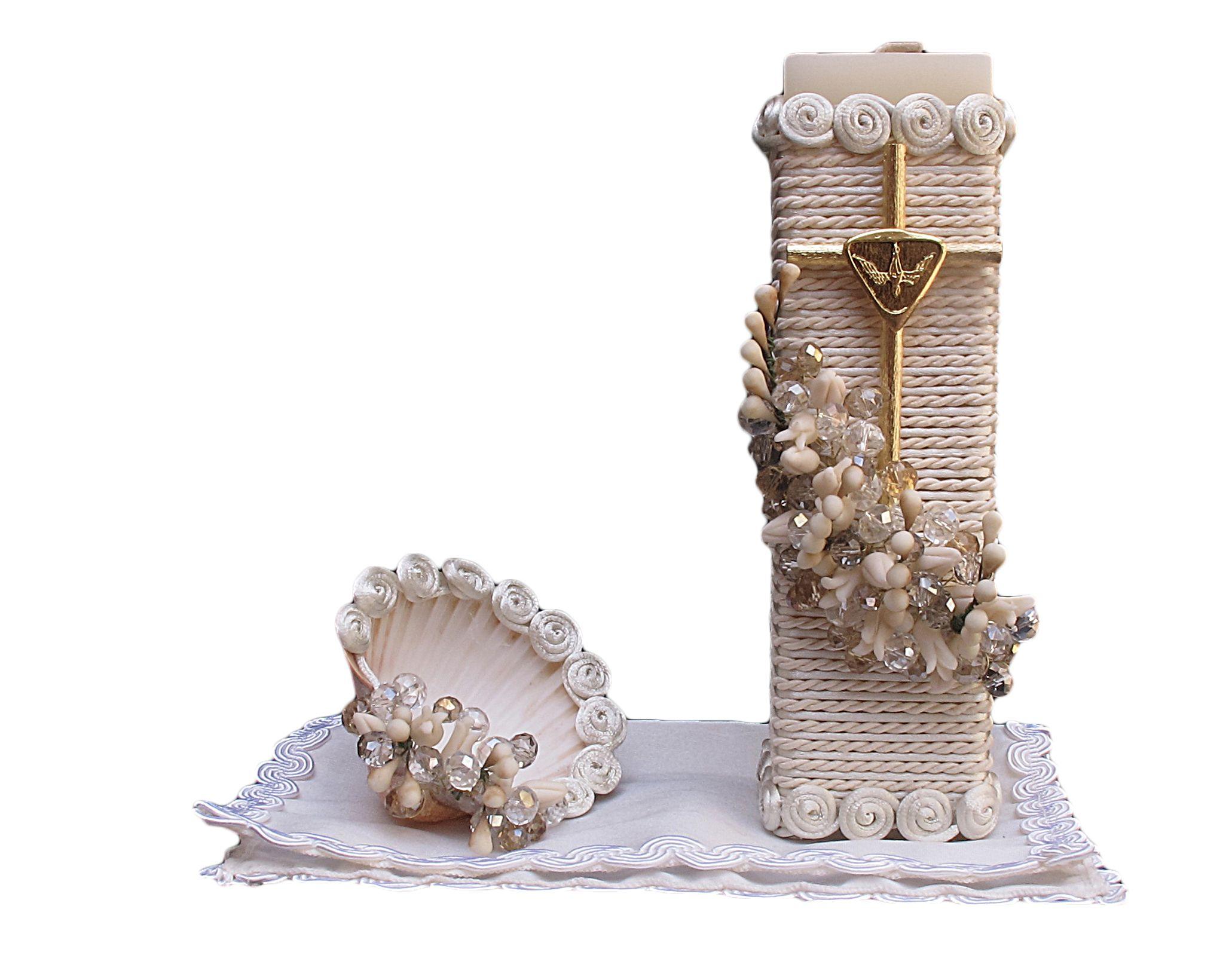 Set de vela para bautizo modelo 9 vela cuadrada conchita - Velas decoradas para bautizo ...