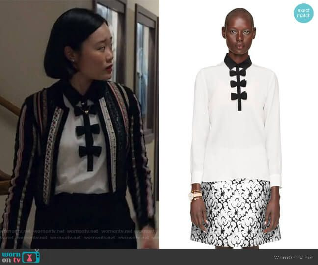 457997298bc Courtney s contrast bow blouse on 13 Reasons Why. Outfit Details  https