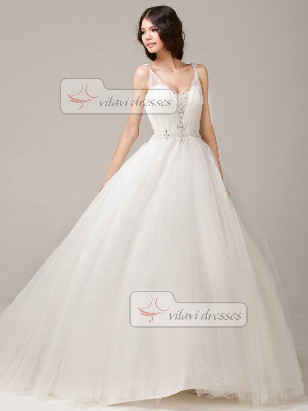 100% Tailor-Made Glamorous Ball Gown Straps Scoop Court Train ...