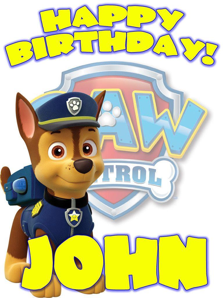 Personalized Custom Birthday T Shirt Paw Patrol Chase Paw Patrol