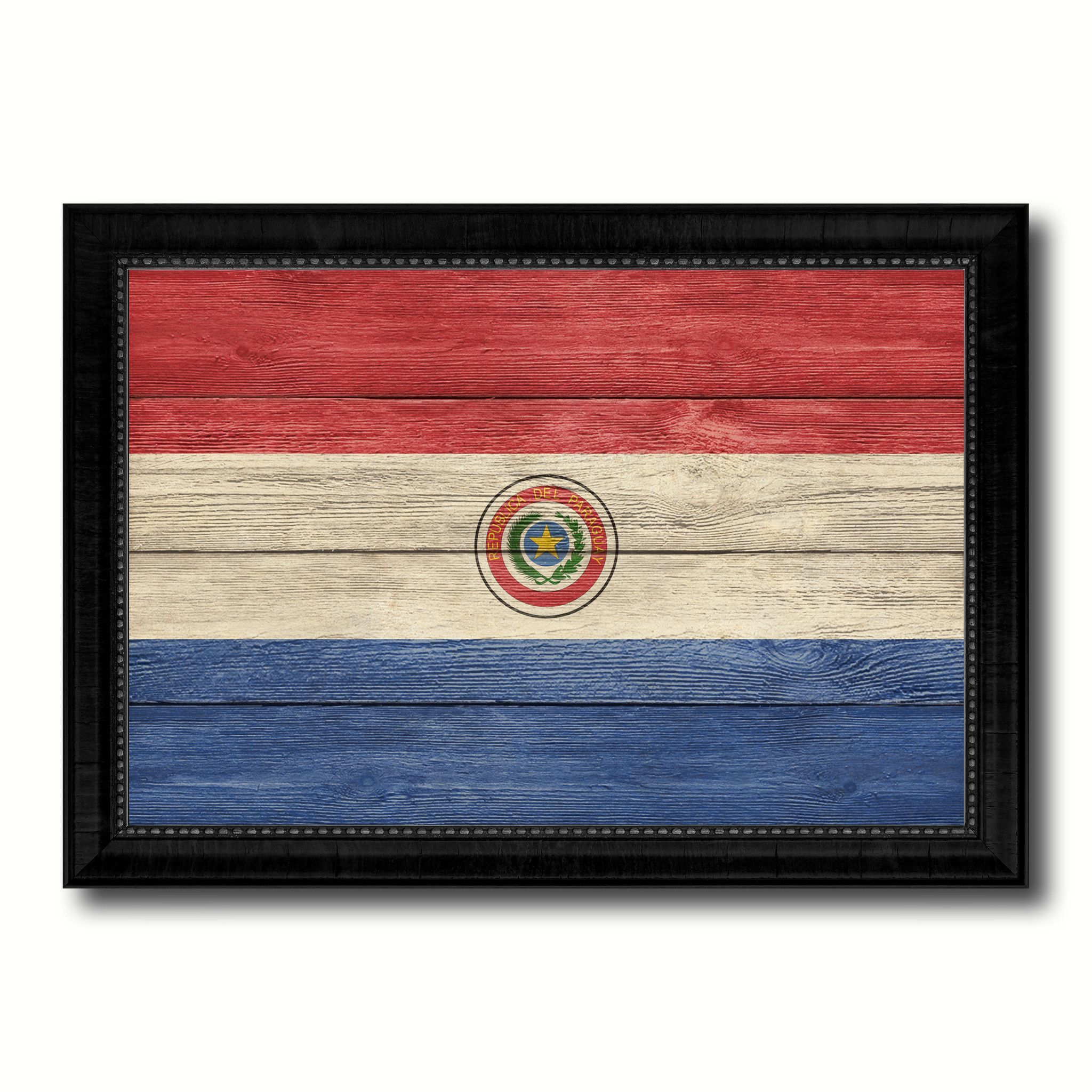 Paraguay Country Flag Texture Canvas Print, Custom Frame Home Decor