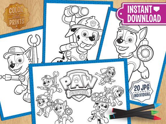 Paw Patrol Coloring Pages Download : Paw patrol coloring pages instant download party