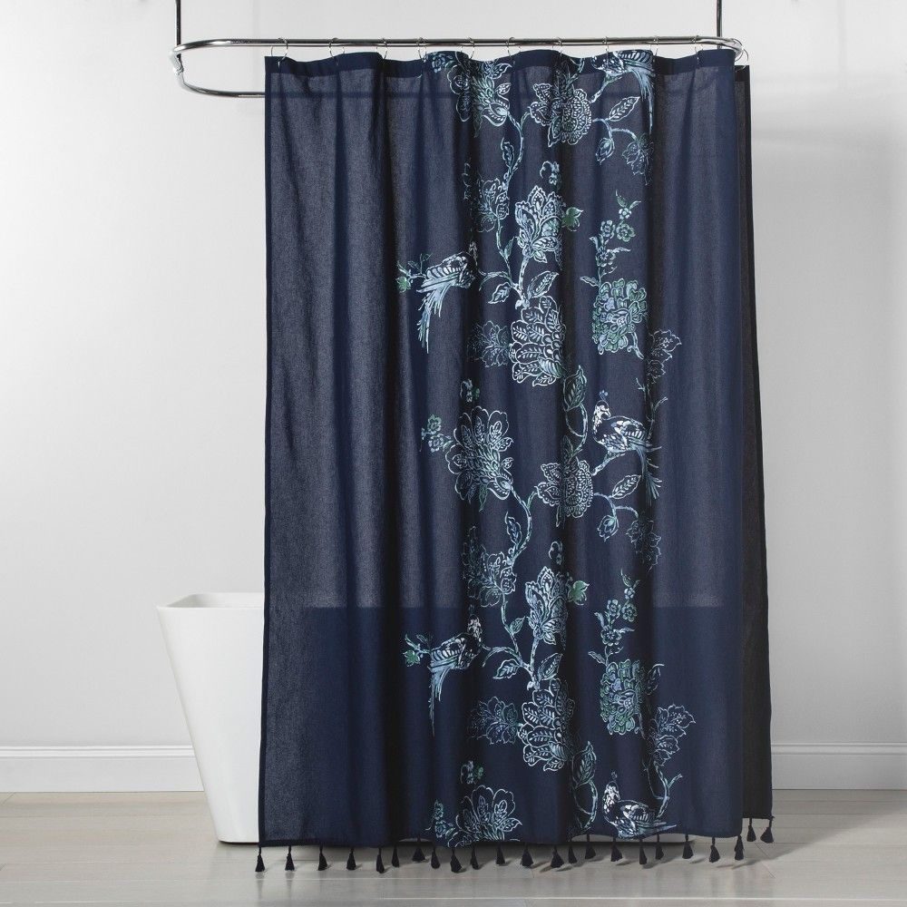Placement Floral Shower Curtain Navy Blue Threshold Floral